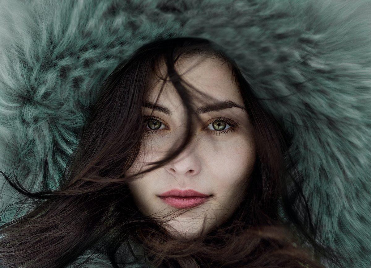 woman wearing fur hoodie